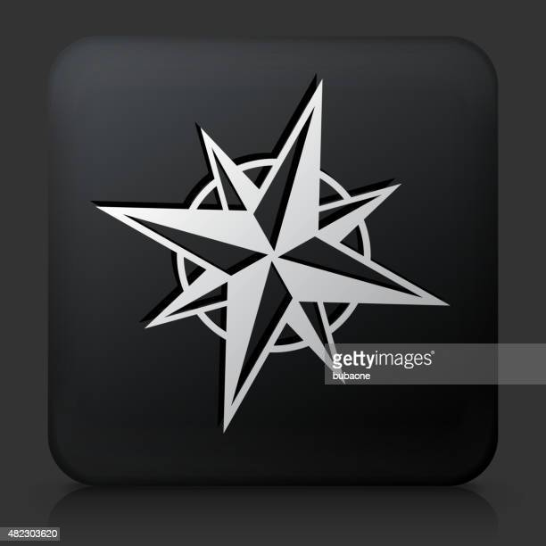 Black Square Button with Compass Icon