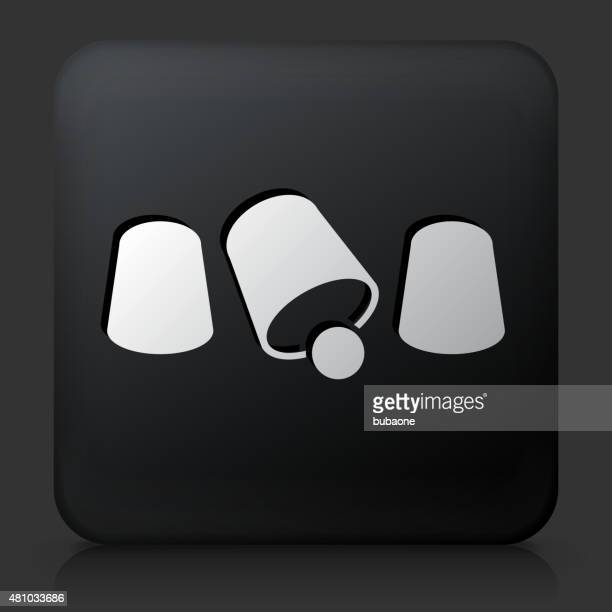black square button with cup shuffling icon - shuffling stock illustrations