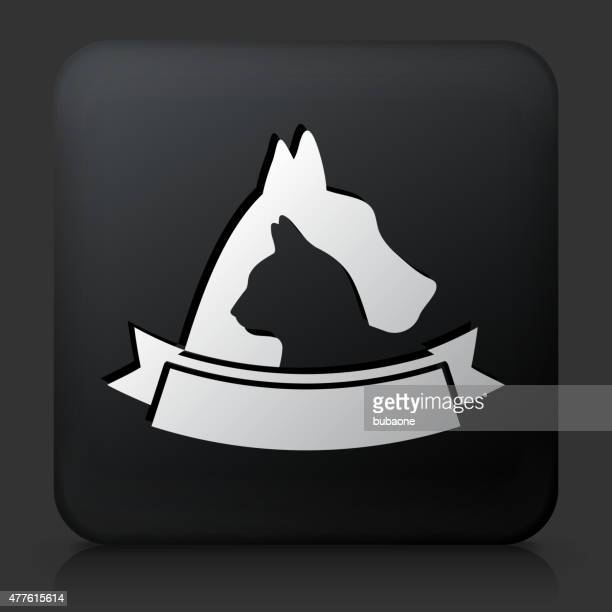 Black Square Button with Dog & Cat Badge