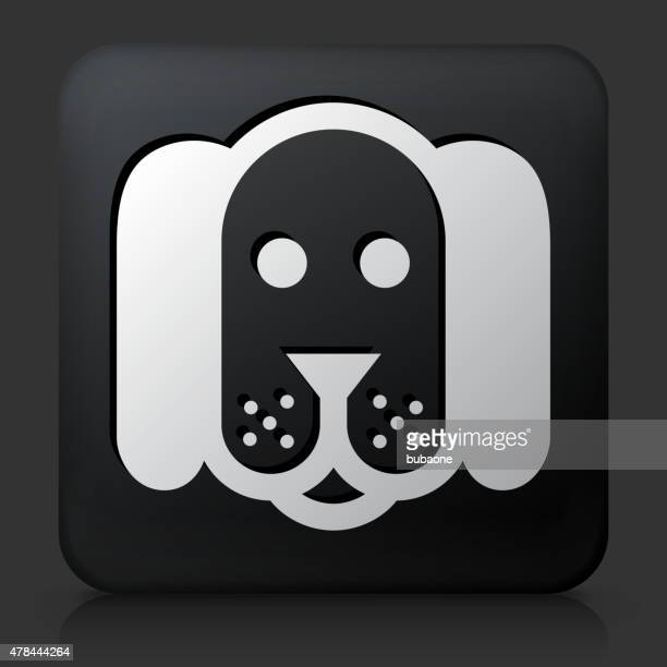 Black Square Button with Dog