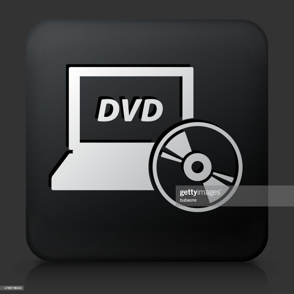 Black Square Button with DVD Laptop Icon