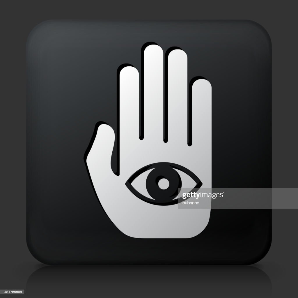 Black Square Button With Eye In Hand Vector Art Getty Images