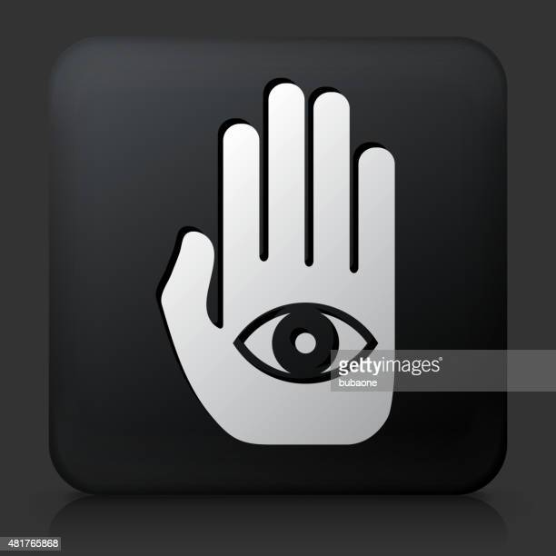 Eye In Hand Icon On White Round Vector Button Vector Art Getty Images
