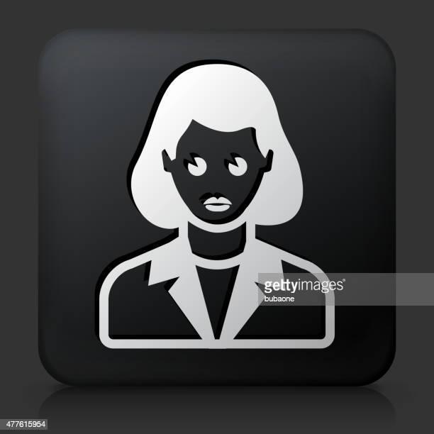 Black Square Button with Female Face Icon