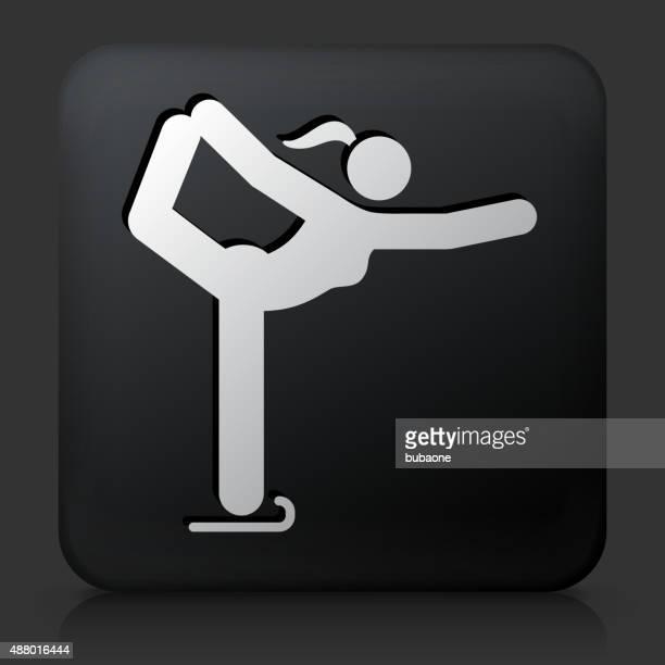 ブラックのスクエアボタン、雌フィギュアスケーター