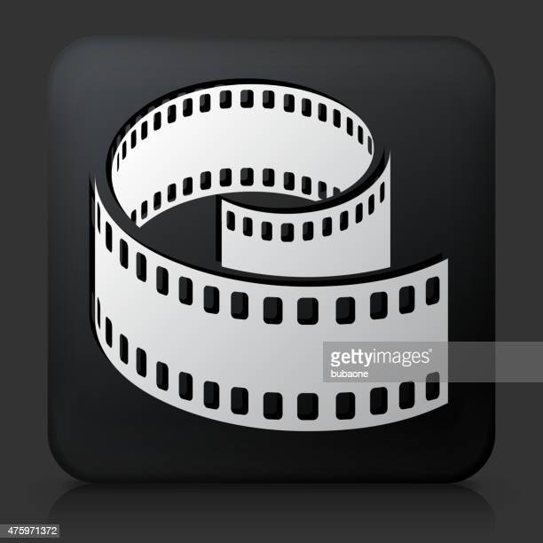 Black Square Button with Film Reel Icon