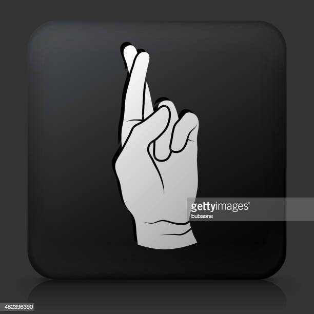 Black Square Button with Fingers Crossed Icon
