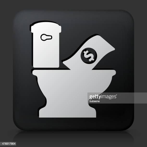 ilustraciones, imágenes clip art, dibujos animados e iconos de stock de botón negro cuadrado con rubor dinero en sanitario - bathroom