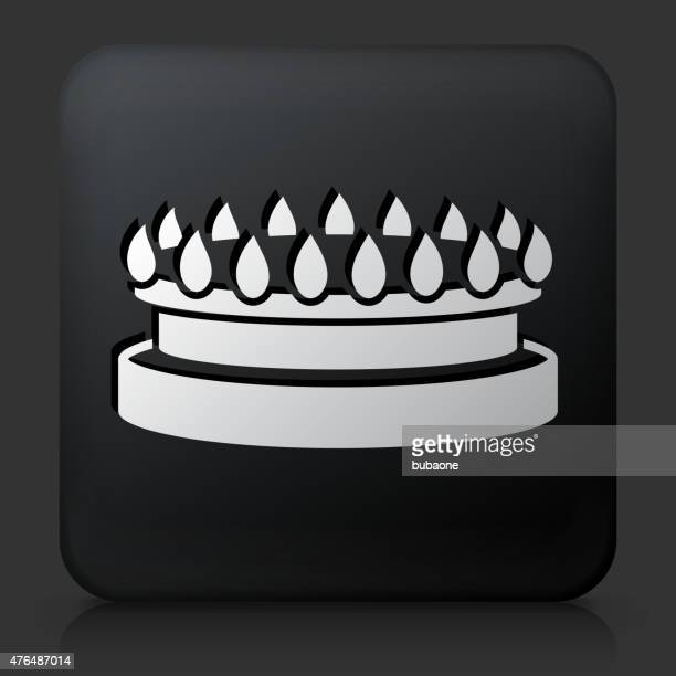 Black Square Button with Gas Stove Icon