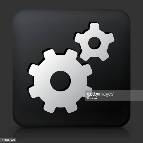 Black Square Button with Gears Icon
