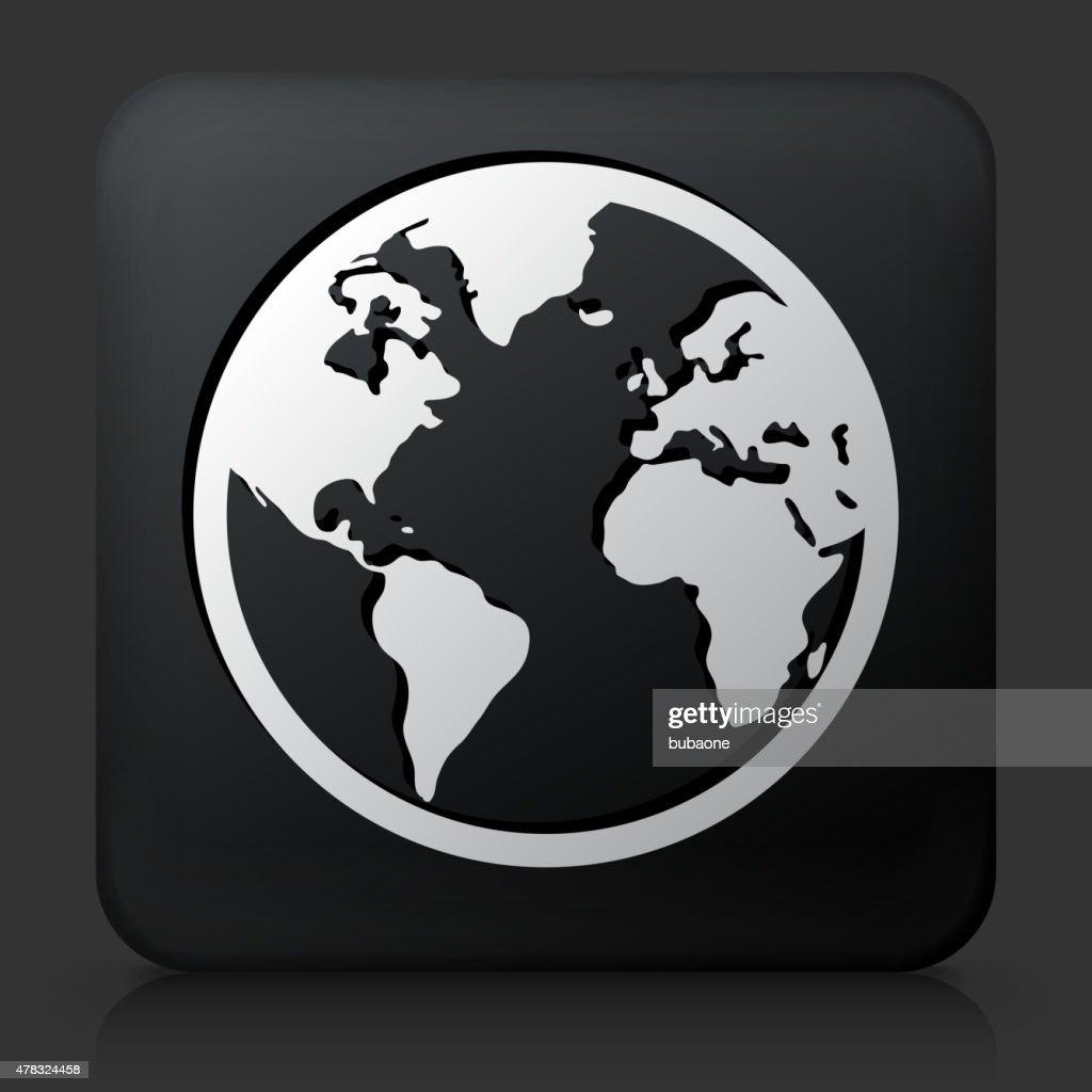 Black Square Button with Globe Icon
