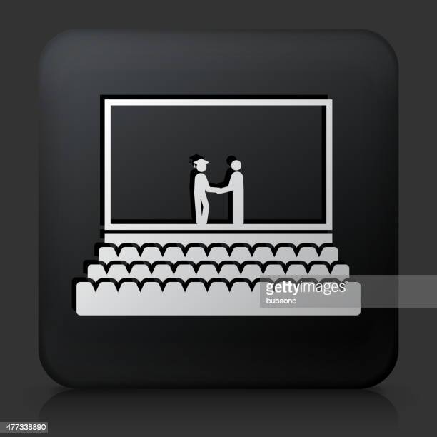 Black Square Button with Graduation Icon