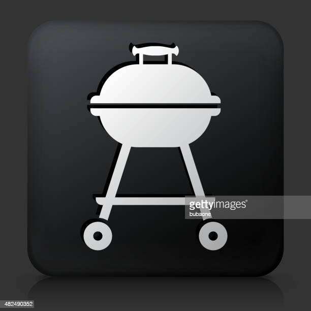 ilustraciones, imágenes clip art, dibujos animados e iconos de stock de botón negro cuadrado con parrilla icono - al vapor