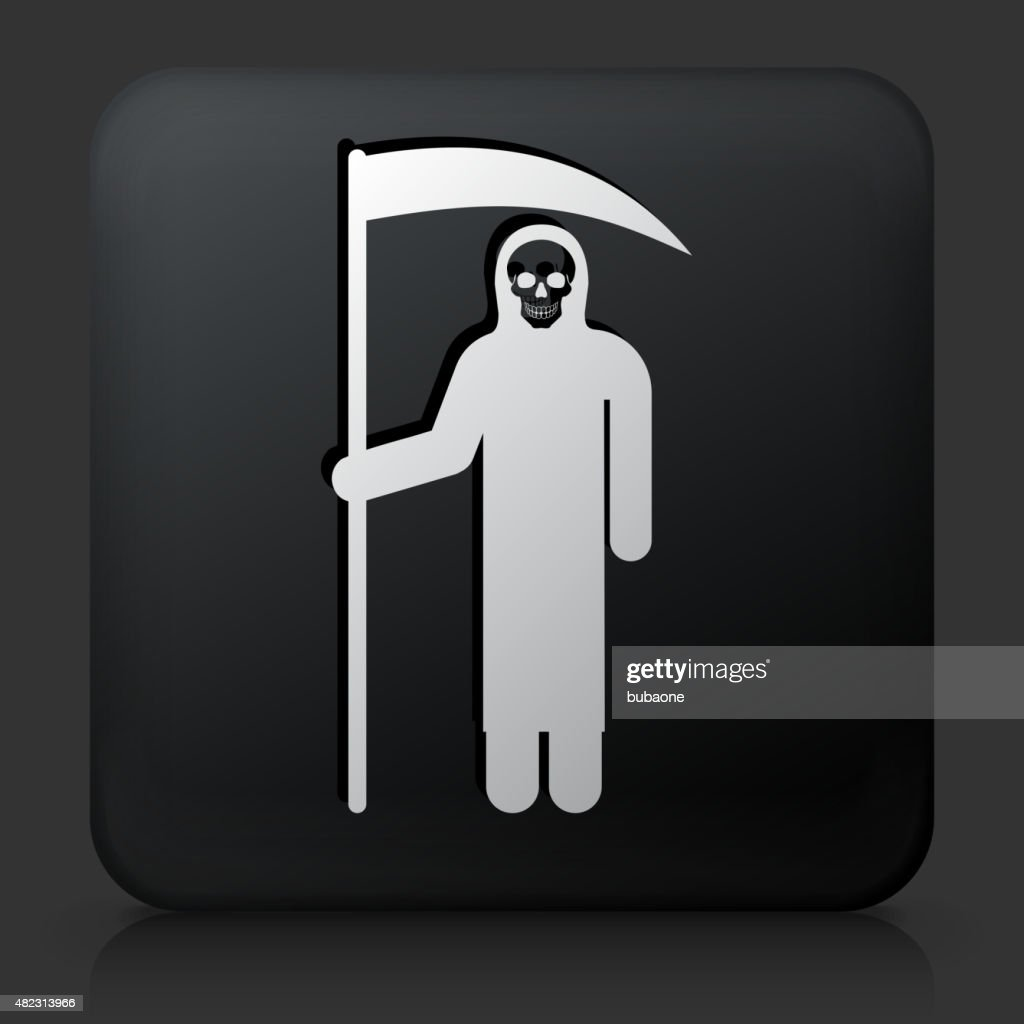 Black Square Button with Grim Reaper Holding Scythe