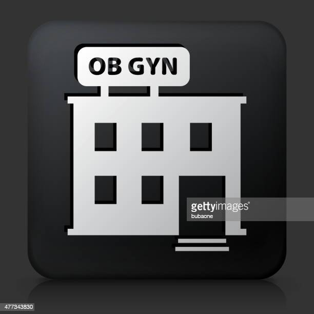 black square button with gynecology offices - menopause stock illustrations, clip art, cartoons, & icons