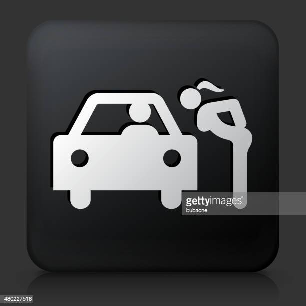 Black Square Button with Hooker Icon