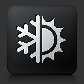 Black Square Button with Hot & Cold
