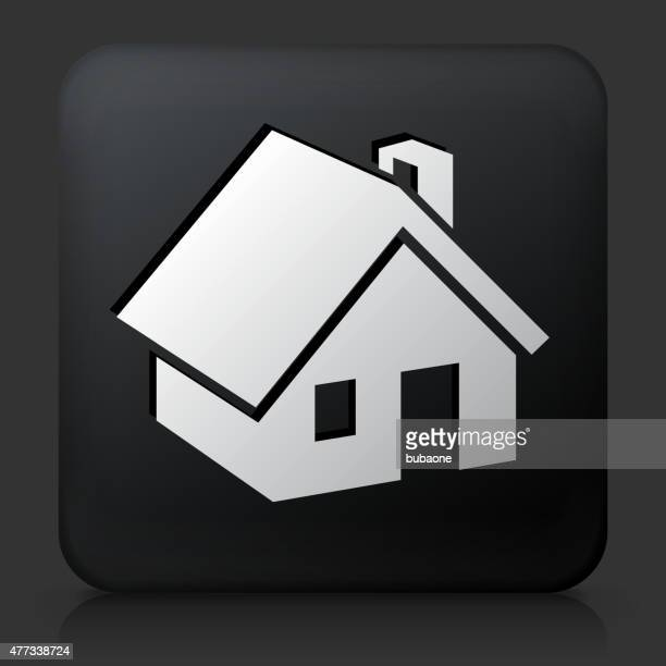 black square button with house icon - bunker stock illustrations