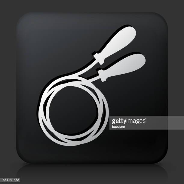 Black Square Button with Jump Rope Icon