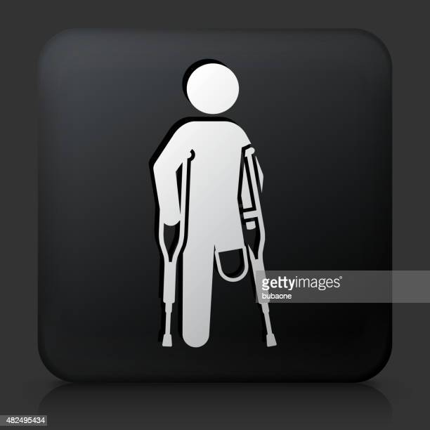 Black Square Button with Leg Amputee