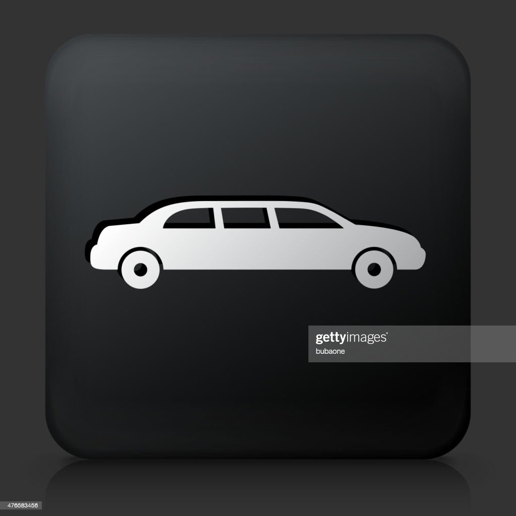 Black Square Button with Limo Icon : stock illustration