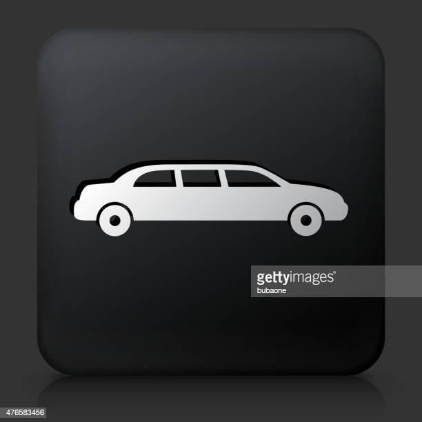 Black Square Button with Limo Icon