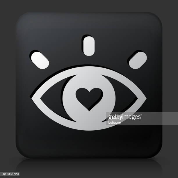 schwarze square knopf mit liebe auf den ersten blick - flirting stock-grafiken, -clipart, -cartoons und -symbole
