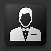 Black Square Button with Male Face Icon