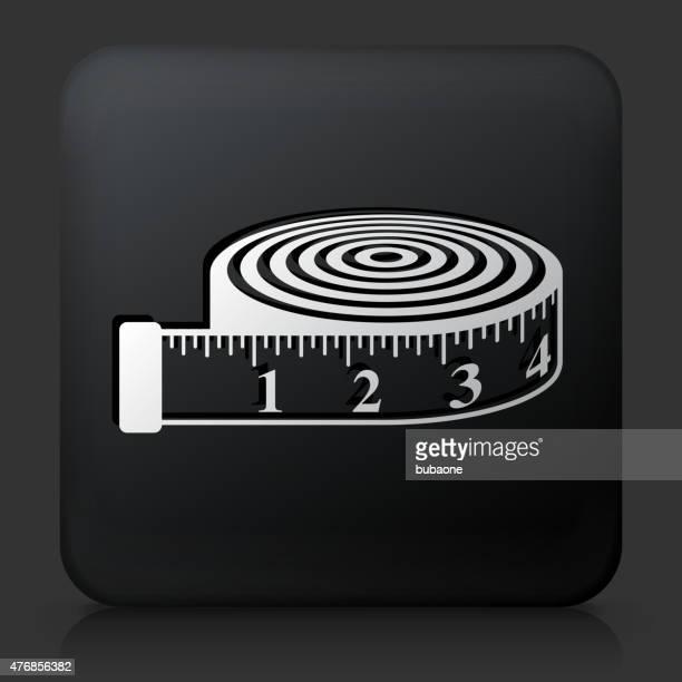 Botão quadrado preto com fita Measurment