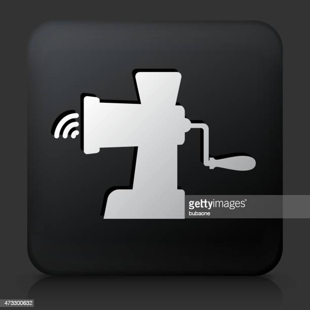 Black Square Button with Meat Grinder Icon