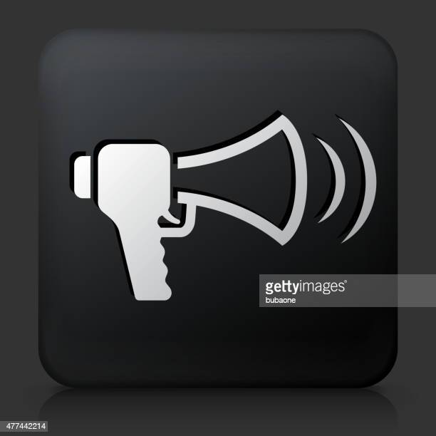 black square button with megaphone protest - political rally stock illustrations, clip art, cartoons, & icons