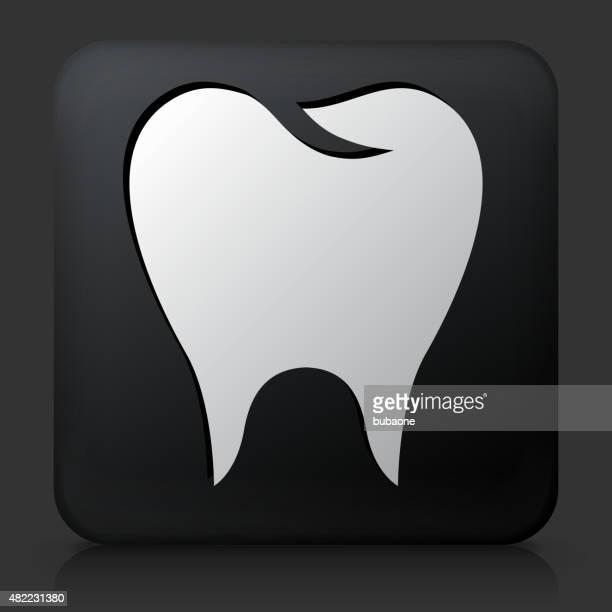 black square button with molar icon - molar stock illustrations
