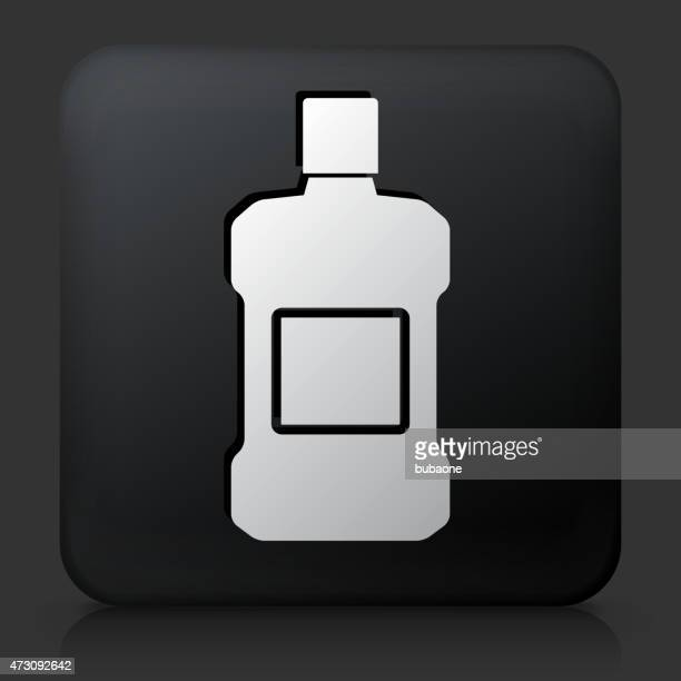black square button with mouthwash icon - mouthwash stock illustrations