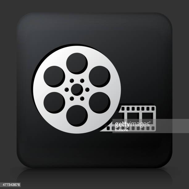 Black Square Button with Movie Reel Icon