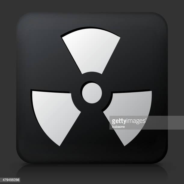 Botón negro cuadrado con Nuclear señal icono