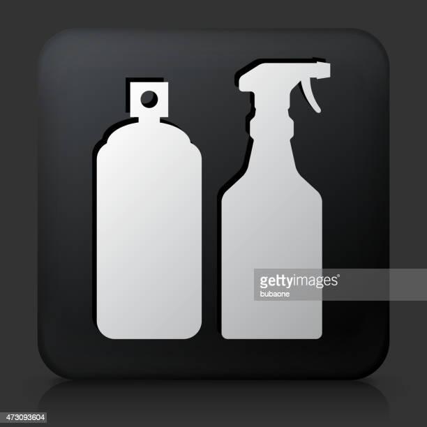 Black Square Button with Pesticide Sprays Icon