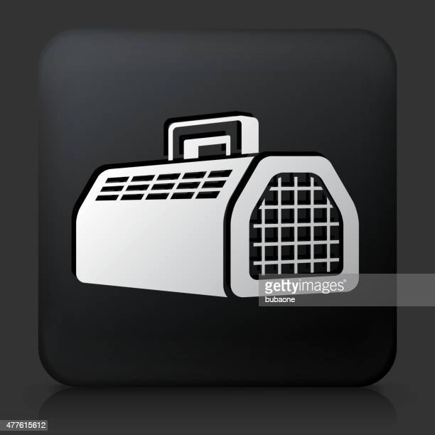 Black Square Button with Pet Cage