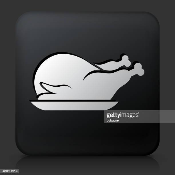 Black Square Button with Poultry Dish Icon