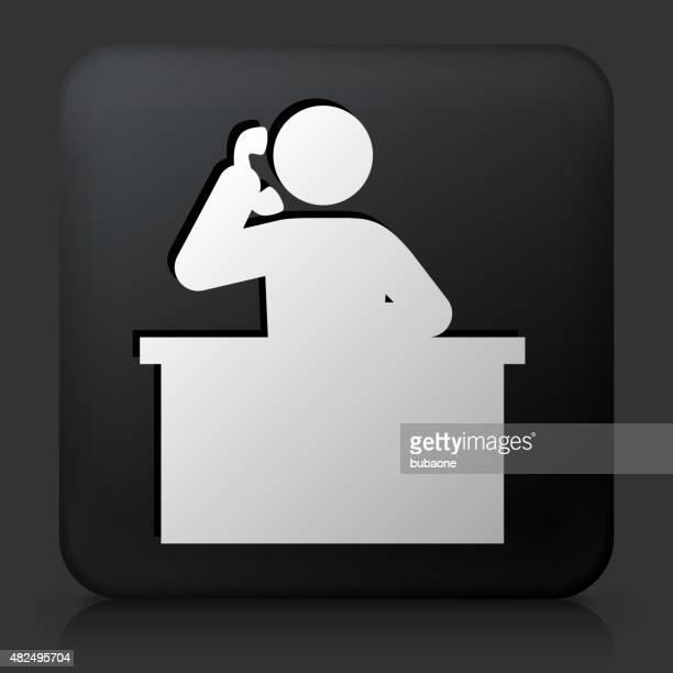 Schwarze rechteckige Schaltfläche mit Symbol-Rezeptionist