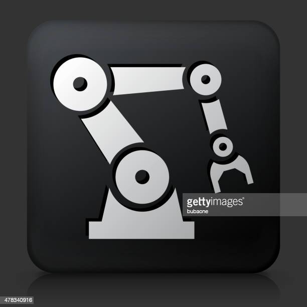 Black Square Button with Robotic Hand