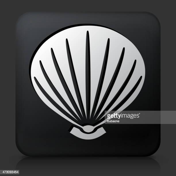 Black Square Button with Sea Shell Icon
