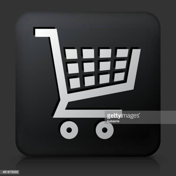 Black Square Button with Shopping Cart