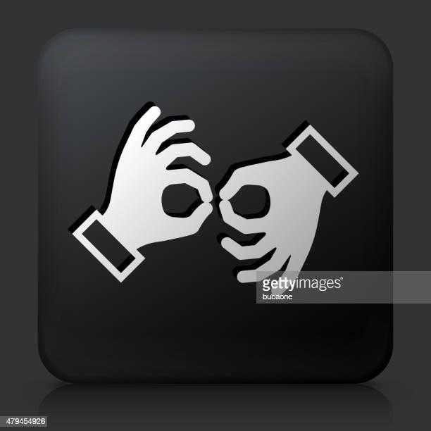 illustrations, cliparts, dessins animés et icônes de carré noir avec bouton en langue des signes - perte auditive