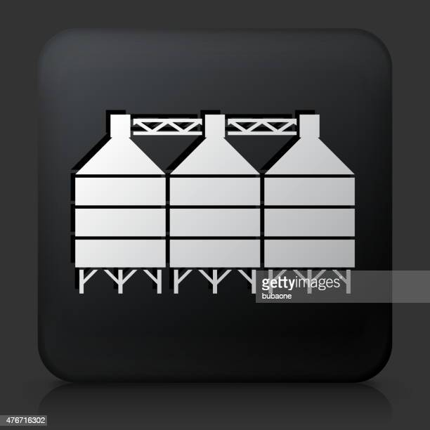 Black Square Button with Silo