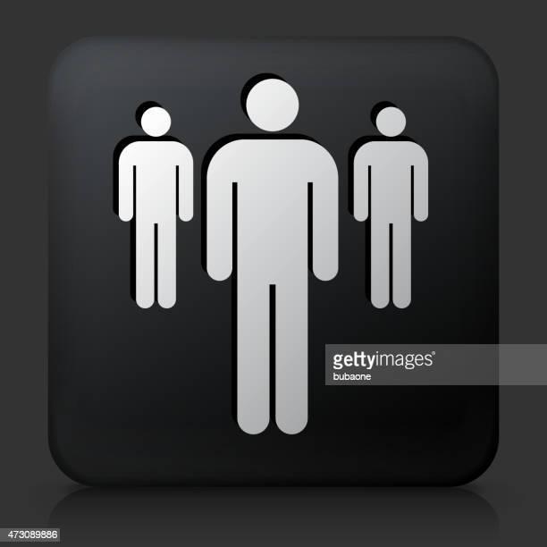Schwarze rechteckige Schaltfläche mit Kleine Gruppe von Personen