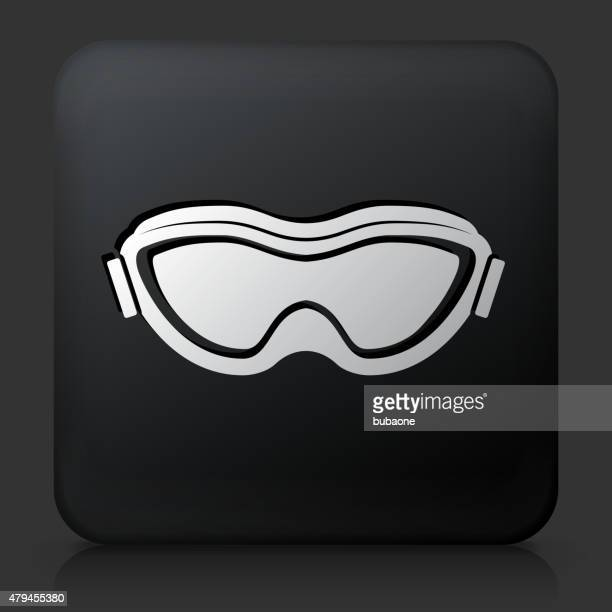 black square button with sport goggles - ski goggles stock illustrations, clip art, cartoons, & icons