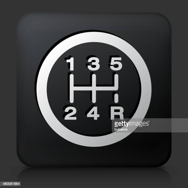 black square button with stick shift - gearshift stock illustrations, clip art, cartoons, & icons