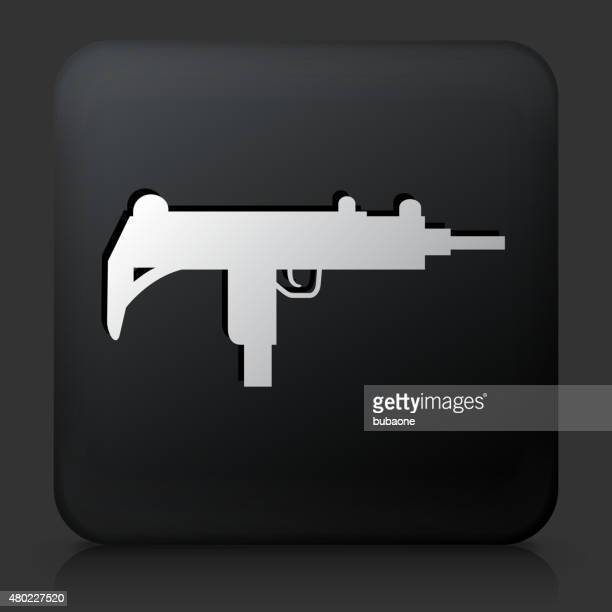 ilustraciones, imágenes clip art, dibujos animados e iconos de stock de botón negro cuadrado con sub-machine gun icono - submachine gun