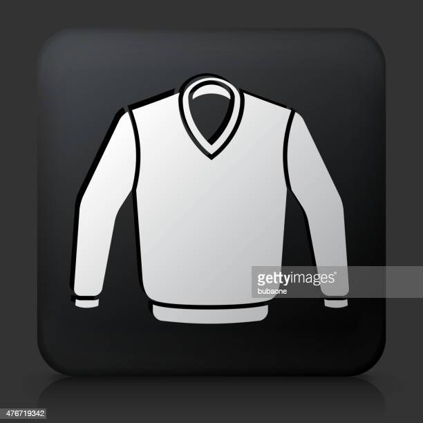 black square button with sweater icon - cardigan sweater stock illustrations, clip art, cartoons, & icons