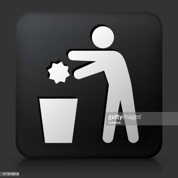 ilustraciones, imágenes clip art, dibujos animados e iconos de stock de botón negro cuadrado con eliminación de la basura - tirar basura